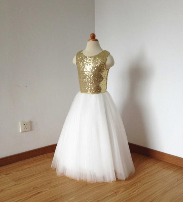 3b1653f7ff7 Floor-length Gold Sequin Ivory Tulle Flower Girl Dress  2512484 - Weddbook