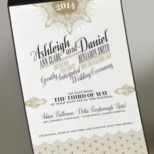 art deco gold wedding invitation great gatsby wedding