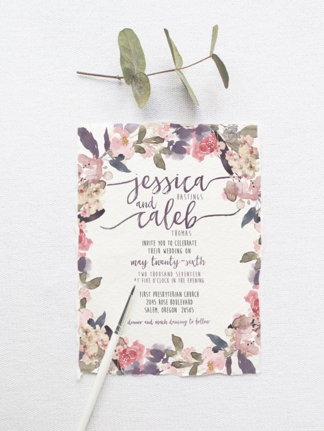 Romantic garden wedding invitation suite deposit diy