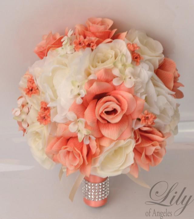 17 Piece Package Silk Flowers Wedding Bouquet Artificial Bridal