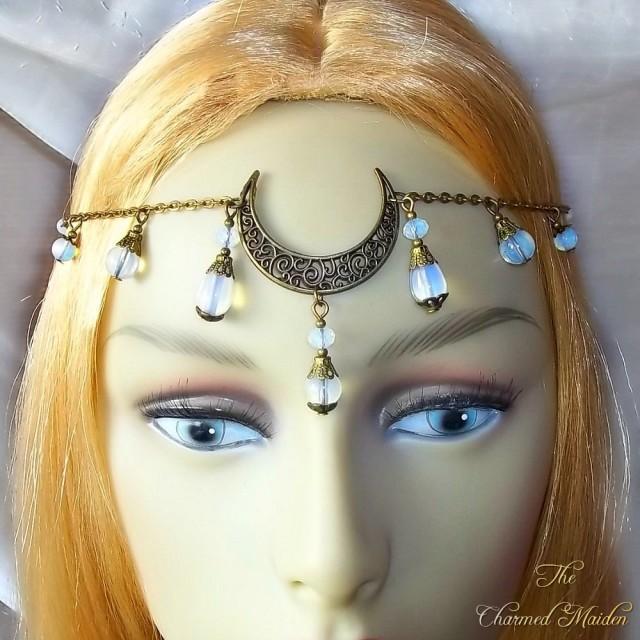 wiccan headpiece Arianrhod    Copper moon headpiece pagan moon accessories moon goddess accessories