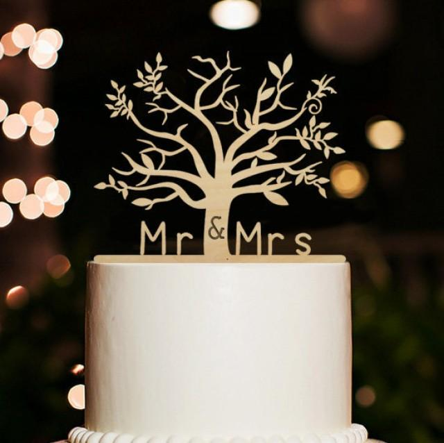 Rustic Wedding Cake Toppercherry Wood Tree Cake Toppermr And Mrs
