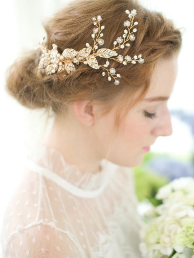 gold bridal comb wedding comb vintage comb flower comb
