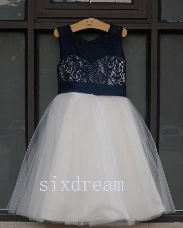 Ivory Dress &Navy Blue Lace Navy Blue Ribbon Wedding