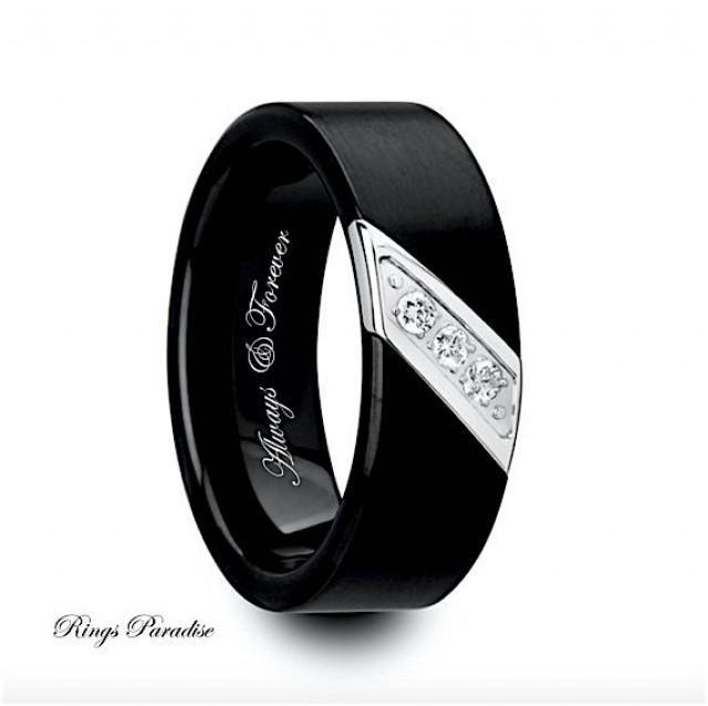 Mens wedding bands engagement ring black tungsten ring for Mens wedding ring bands