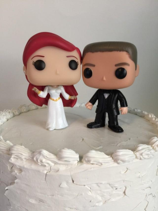 Custom Funko Pop Ariel And Groom Wedding Cake Topper Set