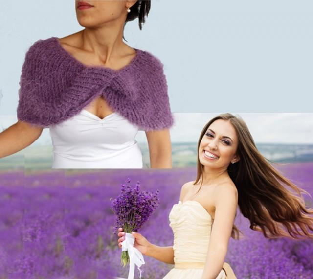 d3507944b83f Bridal Wrap, Shrug Bolero, Bridesmaid Shawl Custom Order Lavender Knit  Winter Fall Wedding Accessory Dress Coverup Evening Cape Formal Stole  #2514888 - ...