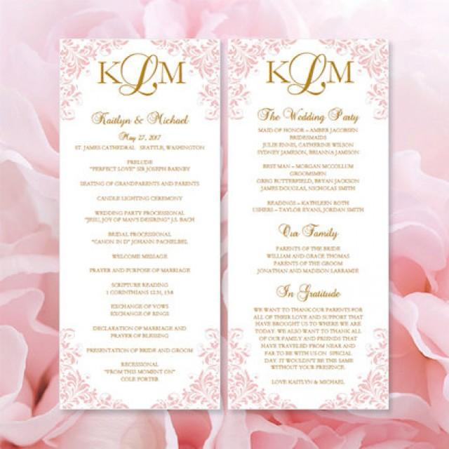 "Printable ""Kaitlyn"" Wedding Program Template Blush Pink"