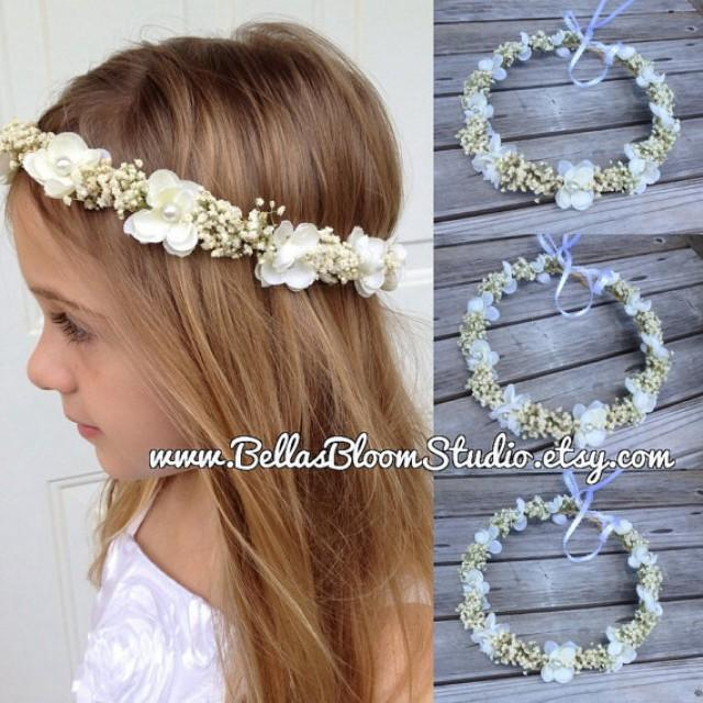 baby 39 s breath ivory flowers crown real dried floral hair wreath toddler flower crown baby. Black Bedroom Furniture Sets. Home Design Ideas