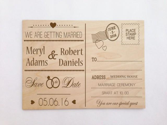Postcard Wedding Invites: Custom Wooden Engraved Postcard Wedding Invitation