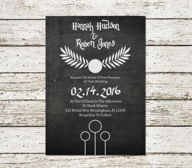 harry potter wedding invitation chalkboard printable sci