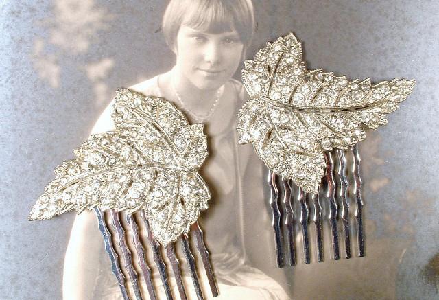 1920s hair comb pair art deco pave rhinestone silver leaf