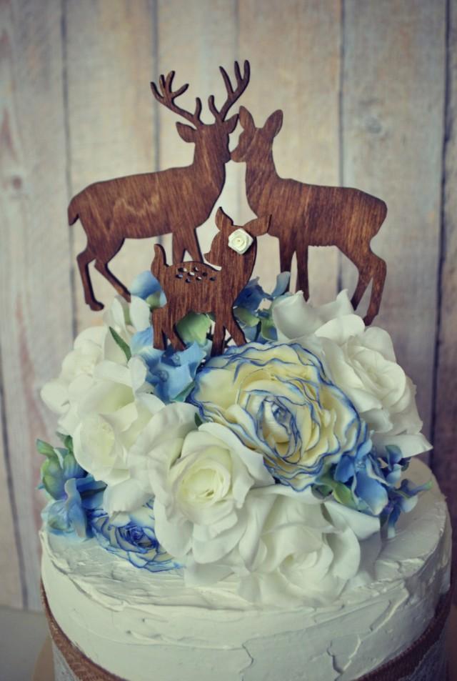 Deer Family Wedding Cake Topper Deer Silhouette Wood