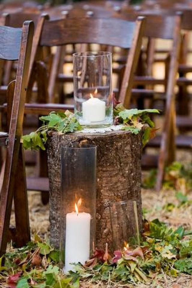 DIY Wedding Ideas. Tree Stumps And Leaves For A Fall Wedding