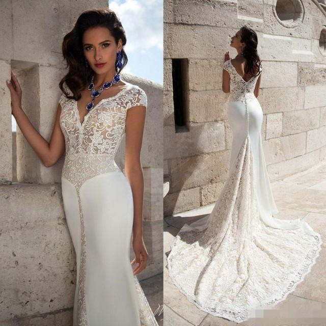 2015 New Elegant Full Long Sleeves Mermaid Wedding Dresses: Elegant V Neck Wedding Dresses Cap Sleeve 2016 Full Lace