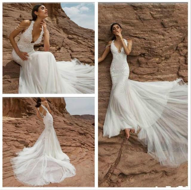 Gorgeous backless mermaid wedding dresses with deep v neck for Backless wedding dress bra