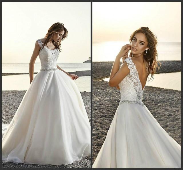 Charming A Line Wedding Dresses 2016 Sheer Scoop Neckline