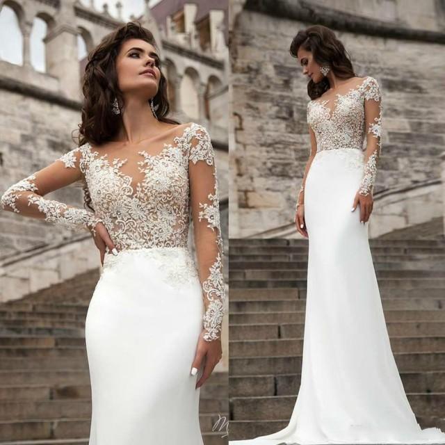 Short Sleeve Lace Wedding Dresses 2016 Chiffon Simple: Spring 2016 Wedding Dresses Sheer Neck Long Sleeve Lace