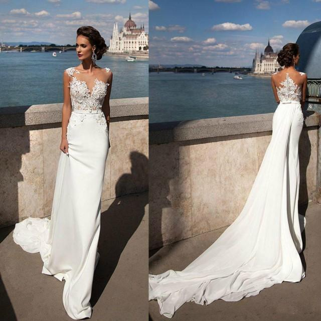 Wedding Gowns Online Cheap: Princess Mermaid 2016 Lace Wedding Dresses Sheer Neck