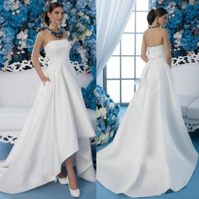 Cheap 2016 High Low Wedding Dresses Garden Strapless Neck Pocket Bow ...