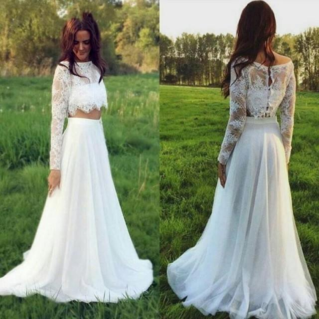 Cheap 2 Piece Wedding Dresses: Stunning Two Pieces Lace 2016 Wedding Dresses Plus Size