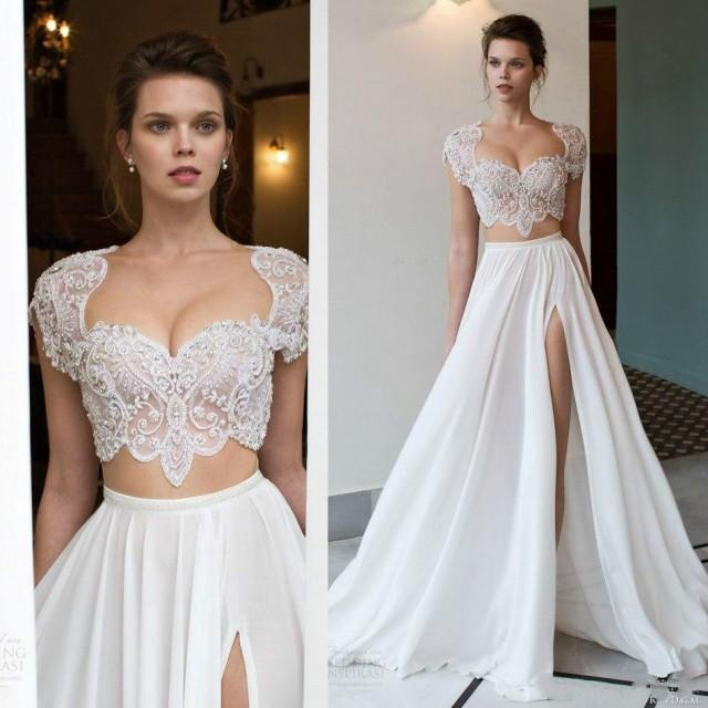 Shop Online Beach Wedding Dresses Cheap Wedding Dresses: Sexy Two Pieces Wedding Dresses Scoop Neck Side Split Lace