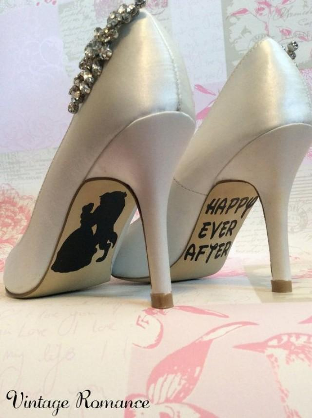 Disney Wedding Day Shoe Sole Vinyl Decals Stickers Beauty And The