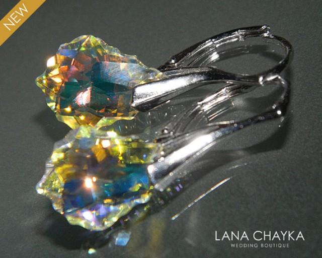 d97f395e9 ON SALE Aurora Borealis Small Crystal Leverback Earrings Swarovski AB  Baroque Crystal Earrings Aurora Borealis Silver Earrings Weddings