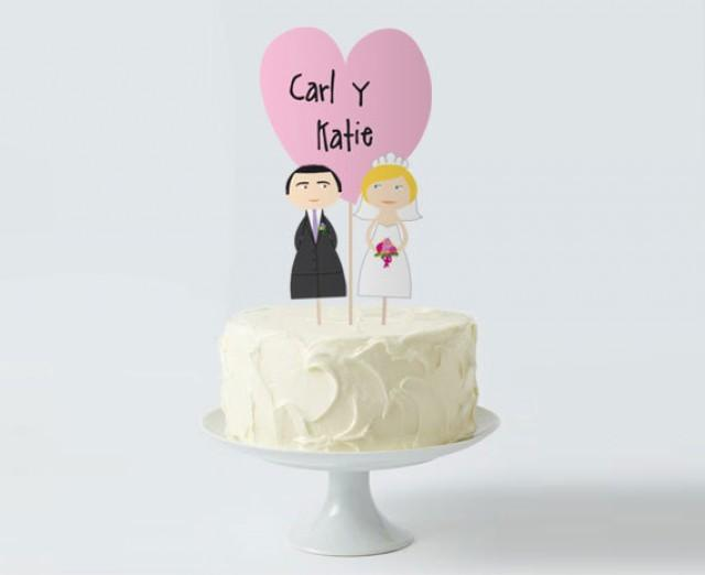 photo relating to Printable Cake Paper called Marriage Cake Topper Preset, Tailor made Bride Groom Centre