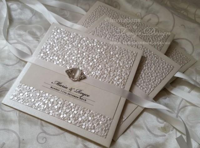 Vintage Wedding Invitations With Pearl Crystal Luxury Wedding