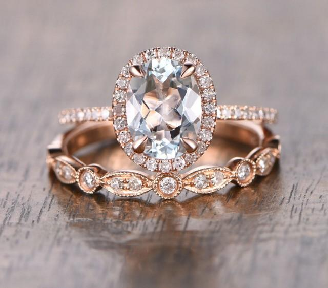oval aquamarine diamond halo engagement ring rose gold