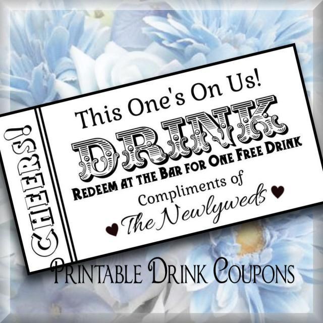 Printable Drink Tickets DIY Wedding Instant Download