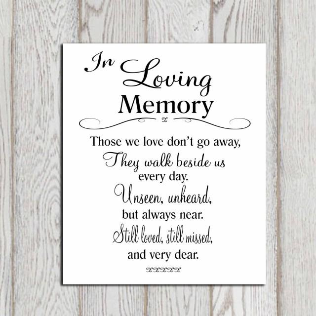 Wedding Memorial Table In Loving Memory Printable Memorial Sign Stunning Loving Memories Quotes