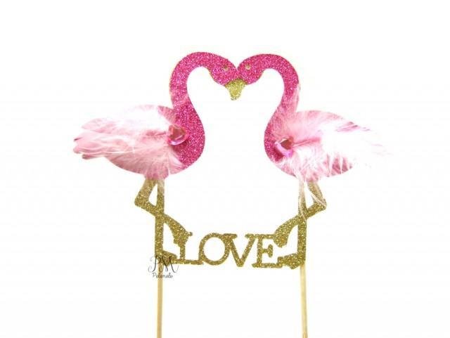 Glitter Flamingo Love Cake Topper Tropical Wedding Cake