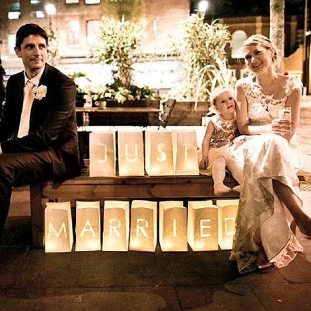 Just Married Wedding Table Decor Luminary Bags Sign Candle Signs Lanterns Luminaries 2520199