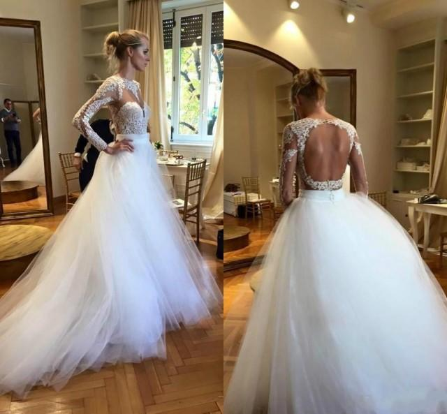Shop Online Beach Wedding Dresses Cheap Wedding Dresses: Modest White Long Sleeves Wedding Dresses Cheap Scoop Lace