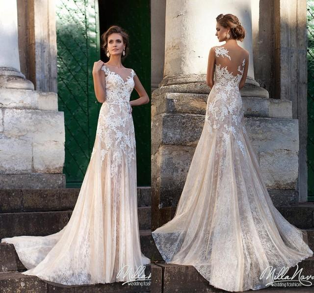 Blush Pink Lace Wedding Gowns: 2016 Fashional Mermaid Wedding Dresses Lace With Appliques