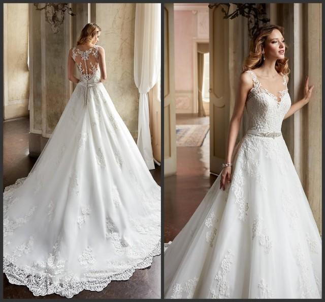Gorgeous 2016 A Line Wedding Dresses Sheer Scoop Neckline