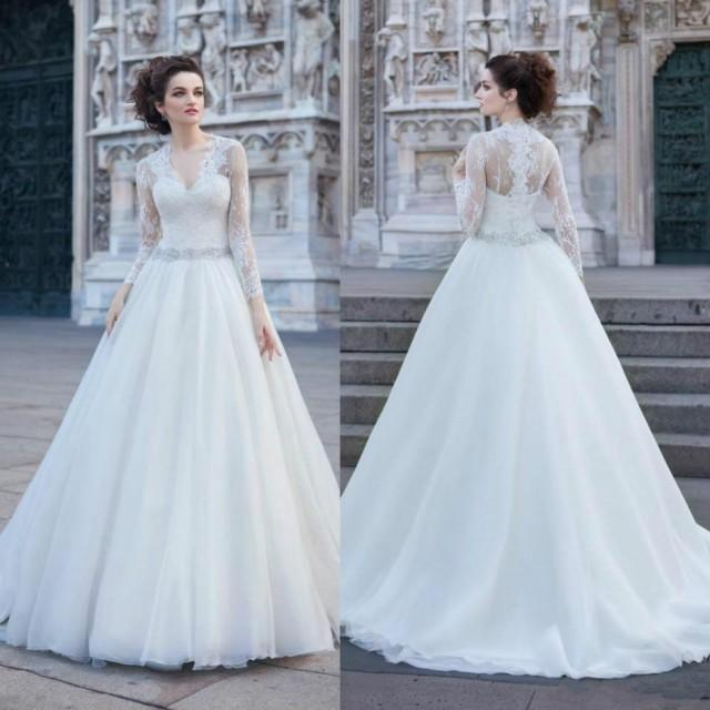Simple Long A Line Cap Sleeve Train Lace Wedding Dresses: Vintage Lace Long Sleeve V-Neck Wedding Dresses 2016 Tulle