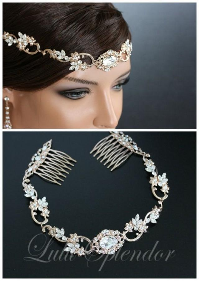 Pearl Chain Headpiece Rose Gold Bridal Head Piece Pearl