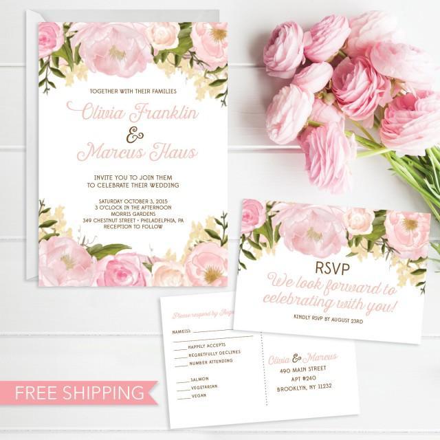 Pink Floral Wedding Invitation Set Wedding Invite Rsvp Card