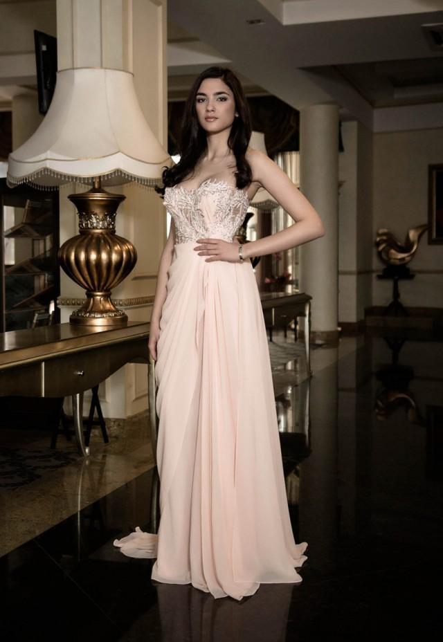 French Wedding Dress In Cream, Blush Wedding Dress With Slit, Custom ...