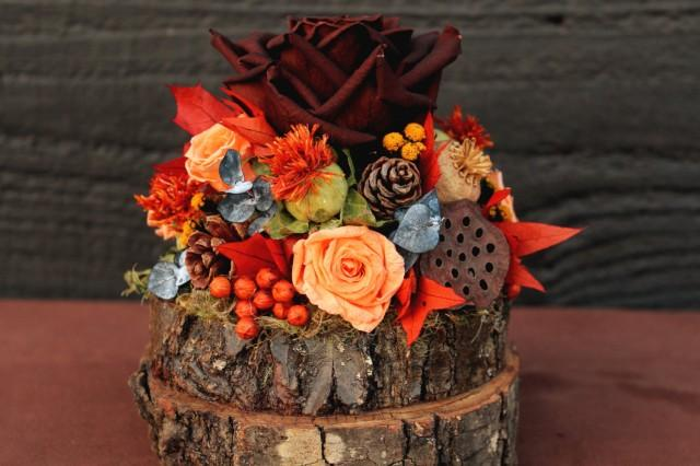 Rustic autumn wedding cake topper woodland