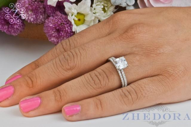 Princess Cut Engagement Ring Open Shank Sterling Silver With Accent Bridal Wedding Set Band By Zhedora ZH GMR00091RH 2521705