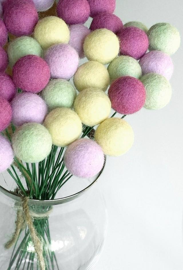 Lilac Green Billy Ball Flowers Billy Buttons Felt