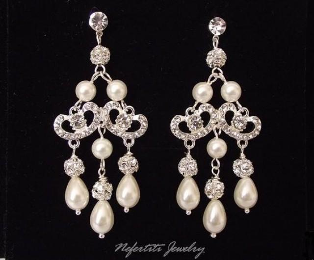 Pearl Chandelier Bridal Earrings Wedding Earings Vintage Style Rhinestone Earring 2521869