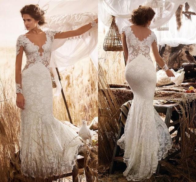 2015 New Elegant Full Long Sleeves Mermaid Wedding Dresses: Elegant Country Beach Long Sleeves Wedding Dresses 2016 V