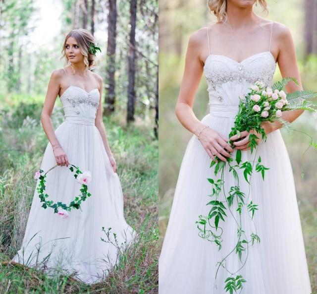 Summer Beach 2016 Lace Wedding Dresses Spaghetti Straps