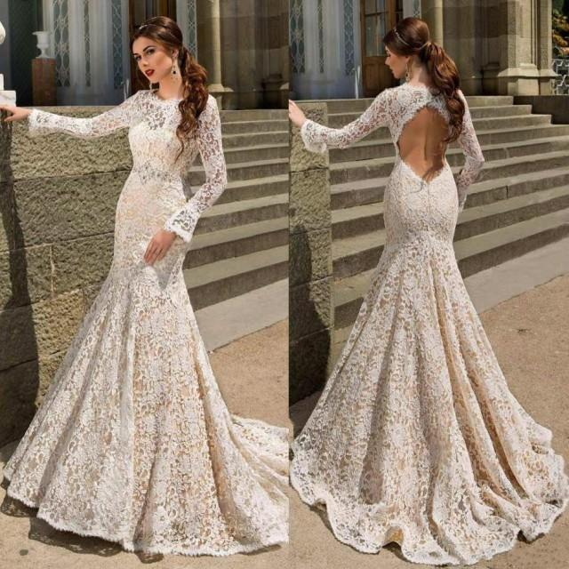 Long Sleeve Lace Fitted Wedding Dress