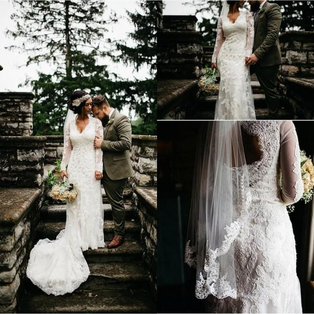 Shop Online Beach Wedding Dresses Cheap Wedding Dresses: 2016 Country Beach Mermaid Wedding Dresses Long Sleeve